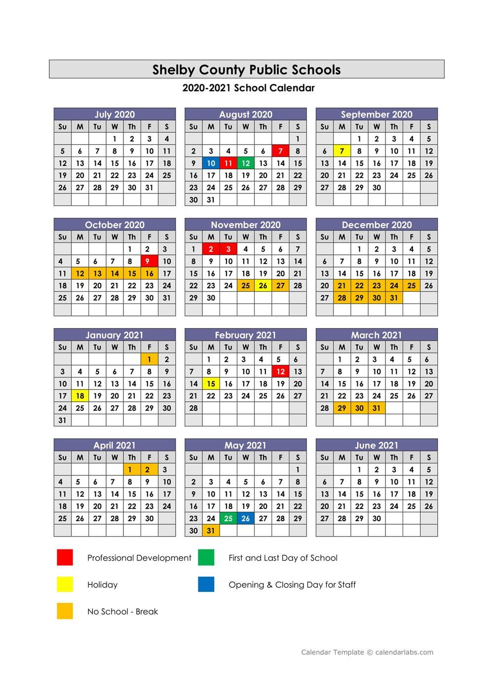 Shelby County Public Schools / Calendar Intended For West Clark Community School Calendar 2021 20