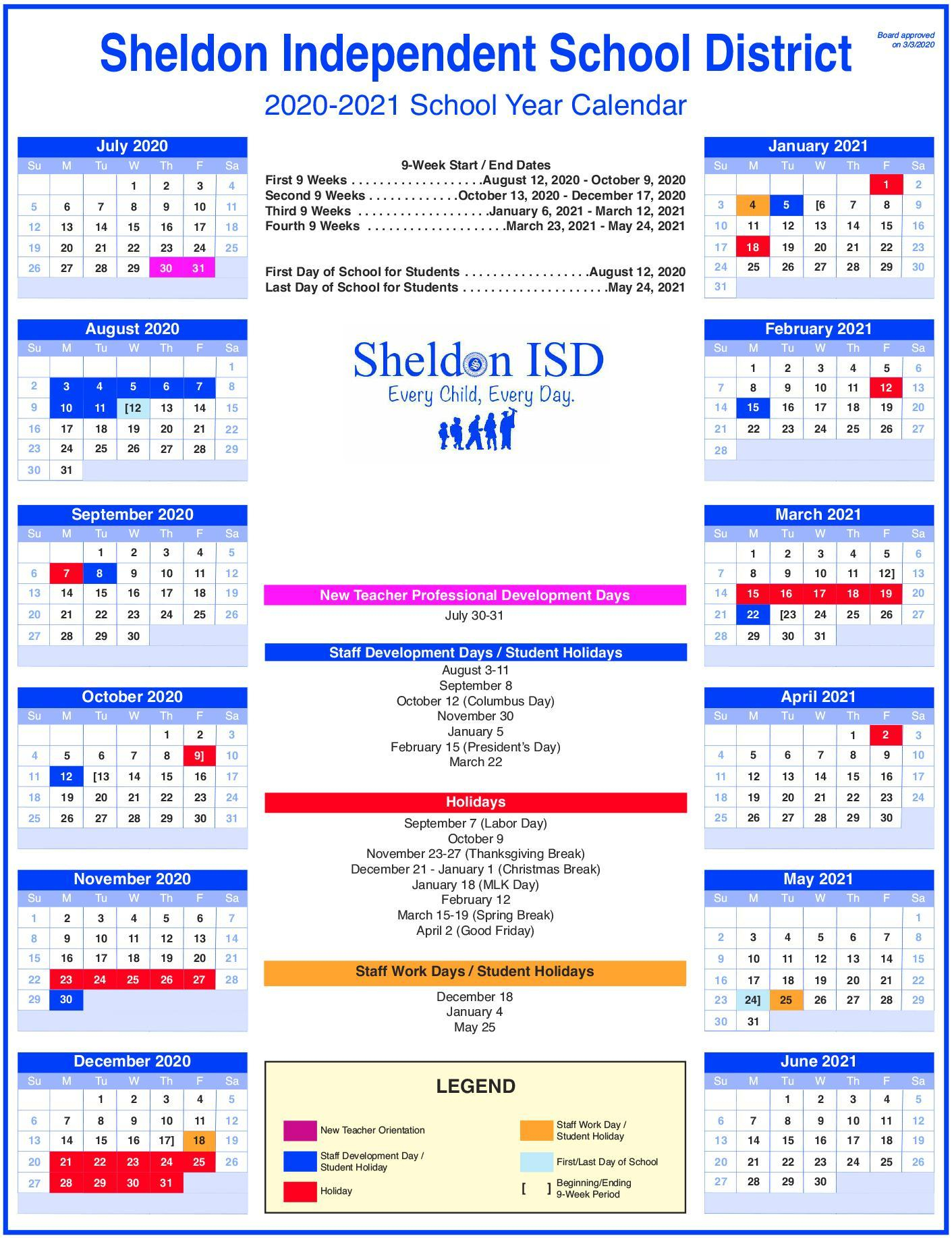 Sheldon Isd Throughout East Allen County Schools Calendar