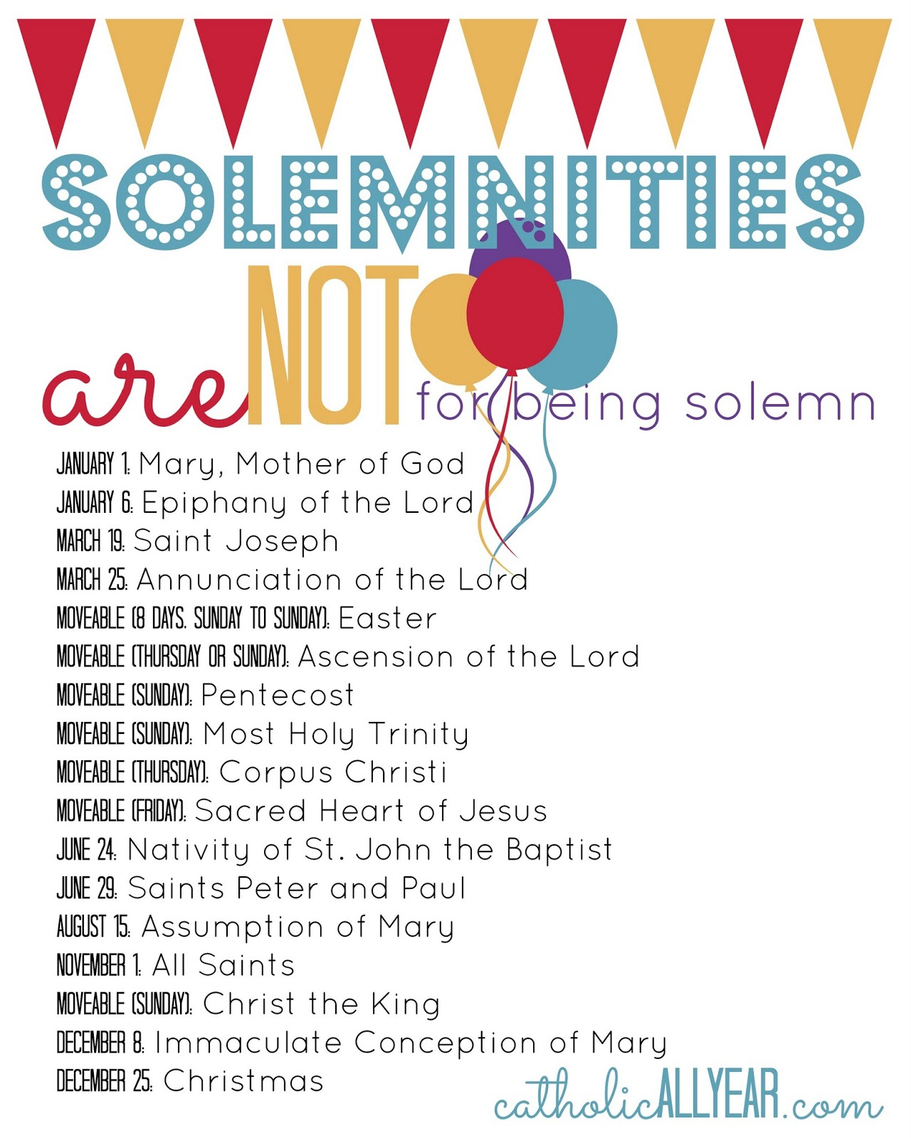 Solemnities Are Not For Being Solemn: What They Are, Why Within Roman Catholic Saint Days Calendar