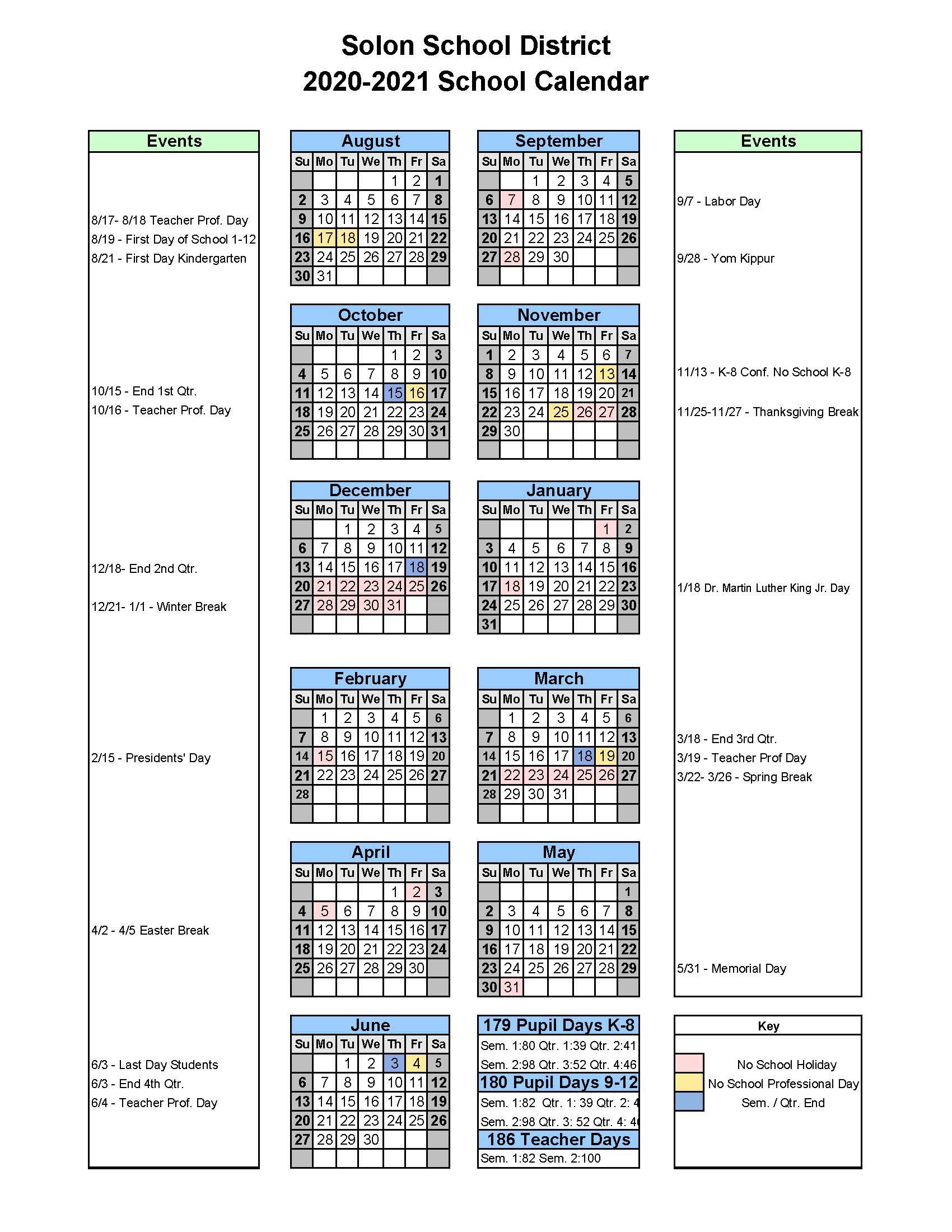 Solon City School District / District Calendar Pertaining To Single Page 1999 Calendar