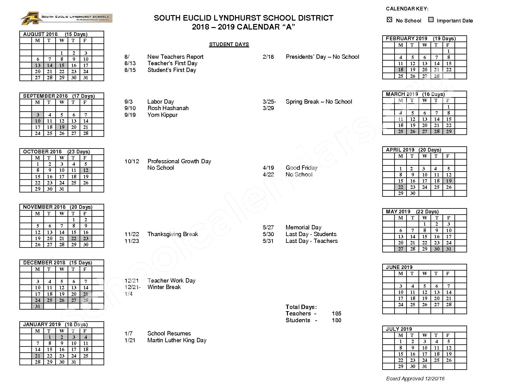 South Euclid Lyndhurst Schools Calendars – Lyndhurst, Oh Throughout South Euclid Lyndhurst Calendar