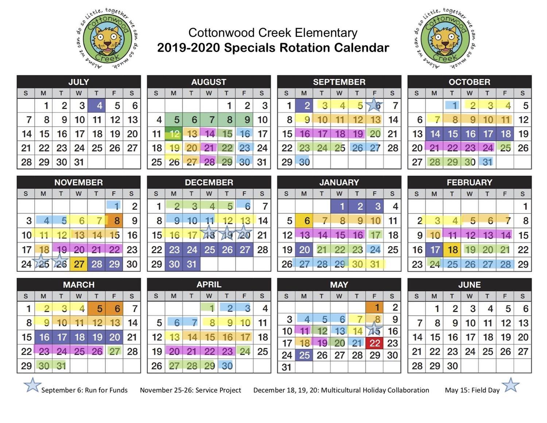 Specials Calendar / Specials Calendar And Classroom Rotation Within Walnut Hills Highchool Calendar