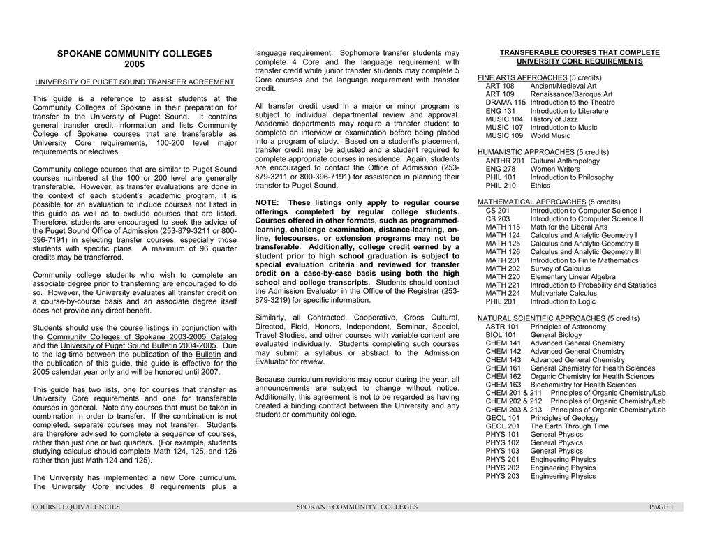 Spokane And Spokane Falls Community College | Manualzz Regarding Spokane Falls Commmunity College Acedemic Calender