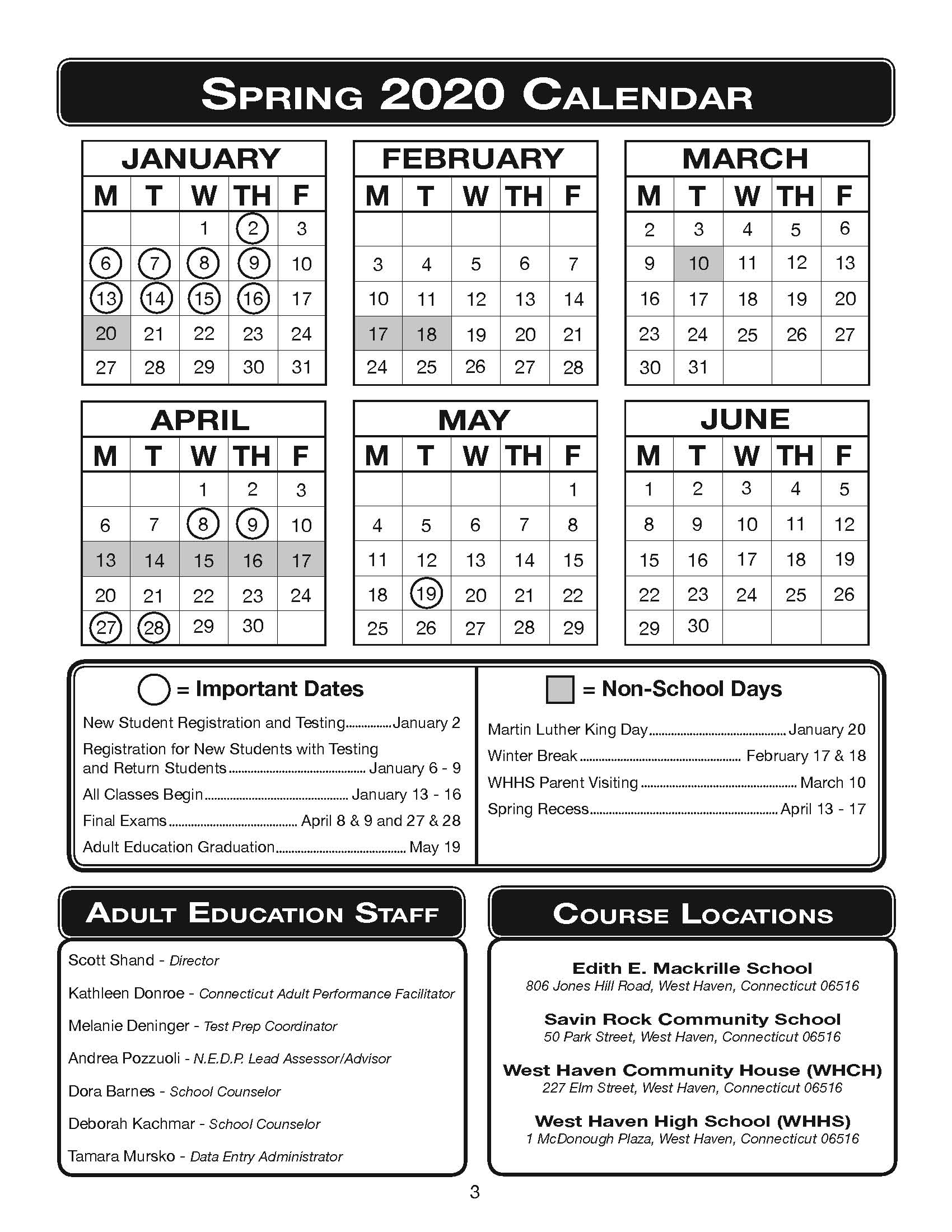 Spring 2020 Calendar - West Haven Board Of Education Within Nassau Community College Spring 2020 Calendar