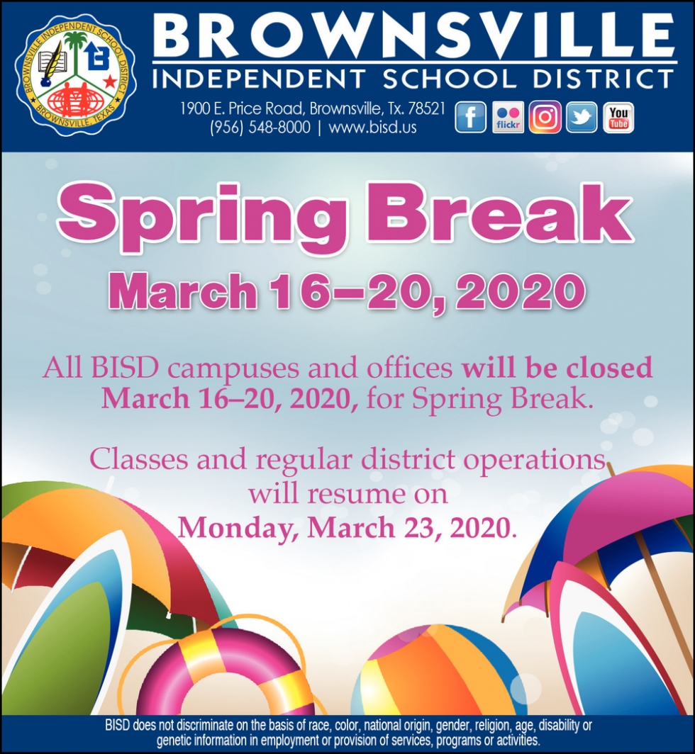 Spring Break, Brownsville Independent School District Pertaining To Brownsville Tx Isd Calendar