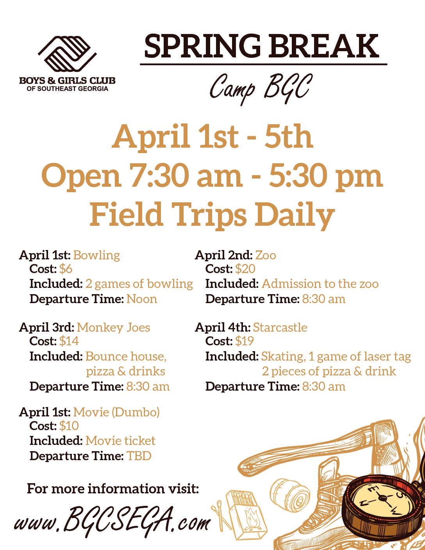 Spring Break: Camp Bgc – Boys & Girls Club Of Southeast Georgia Throughout Boys And Girls Club Spring Break