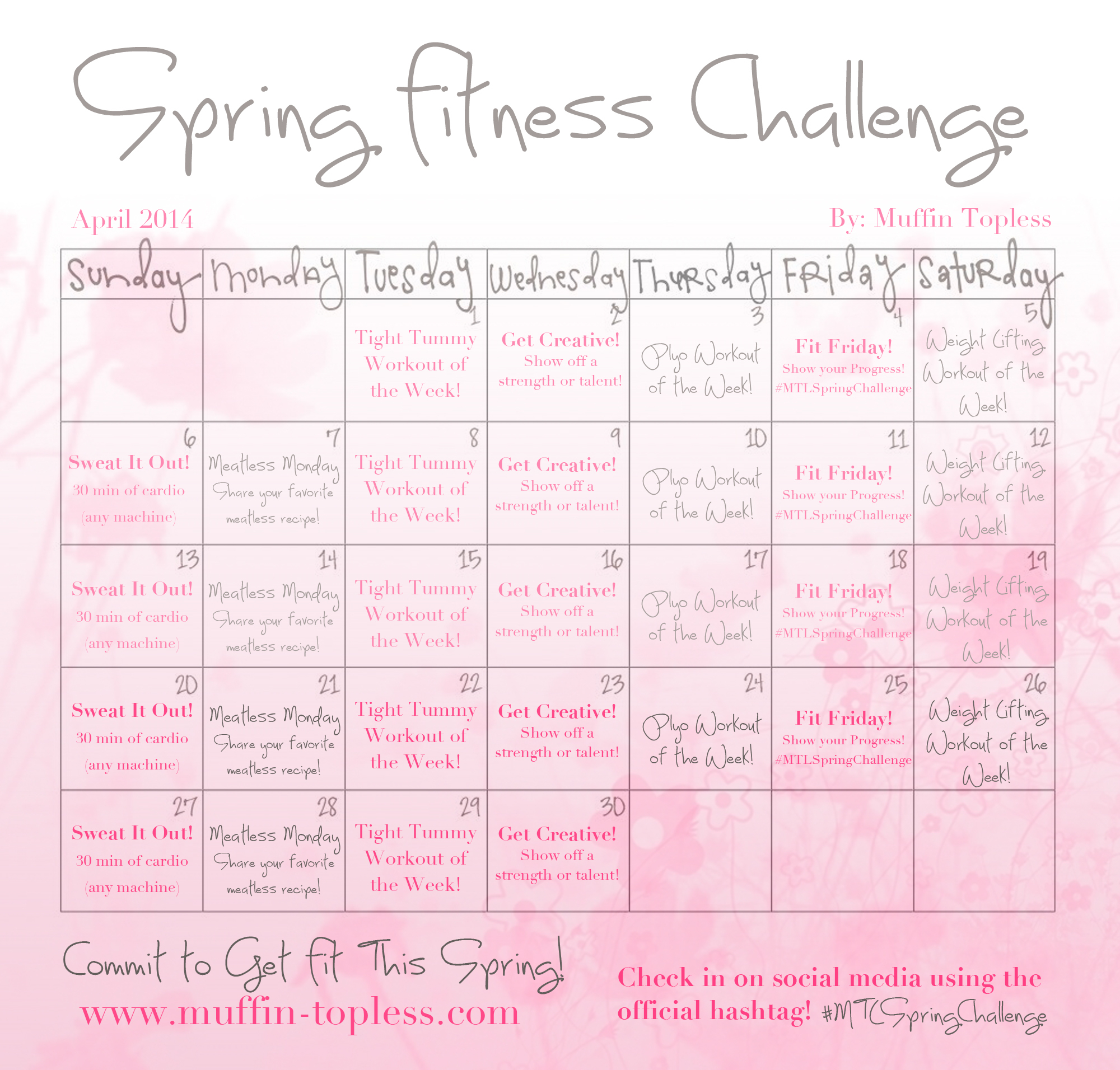 Spring Fitness Challenge For April! Pertaining To April Fitness Challenge Calendar