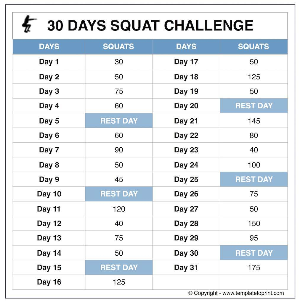 Squat Challenge Chart For Beginners Printable Inside 30 Day Squat Challenge Printable