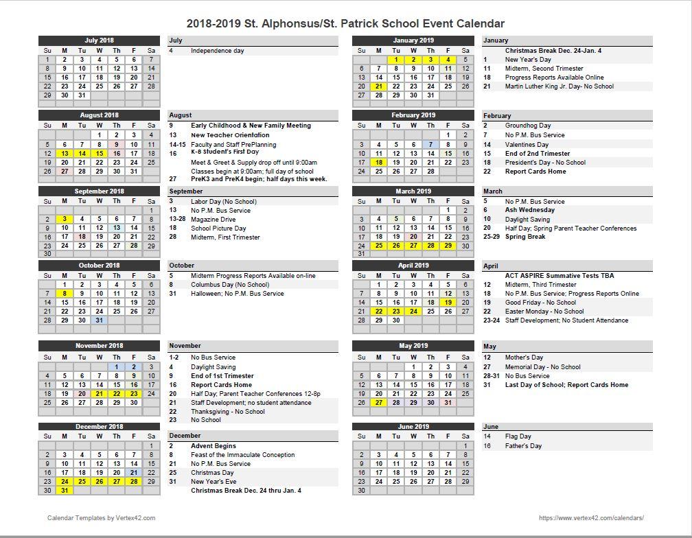 St. Alphonsus Saint Patrick School – Overall Yearly School With St Charles Illinois School Calendar