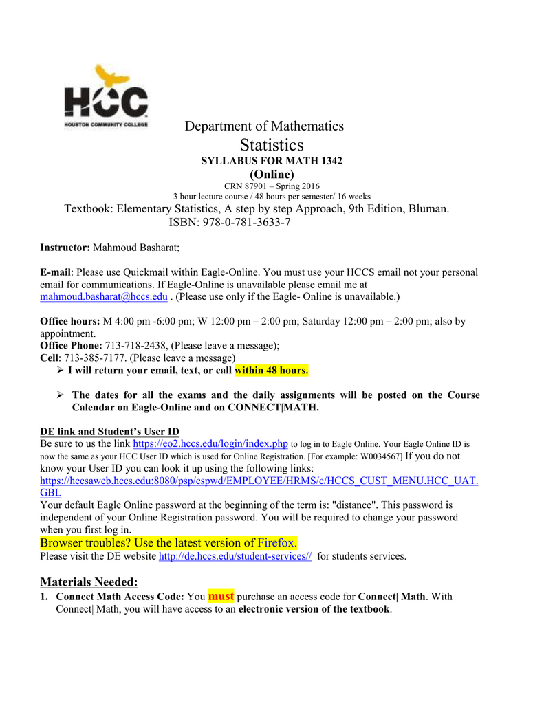Statistics – Hcc Learning Web Within Houston Communiry College Calender