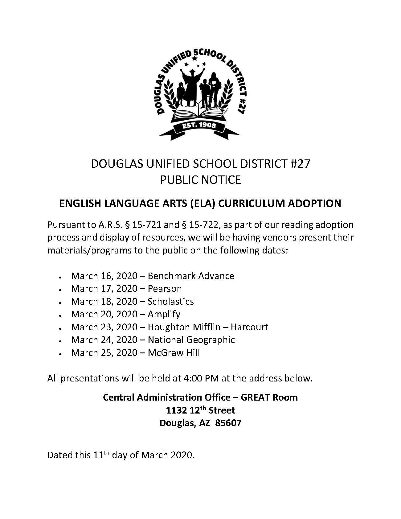 Stevenson Elementary School: English Language Arts (Ela With Mifflin County School District Calender 20 21
