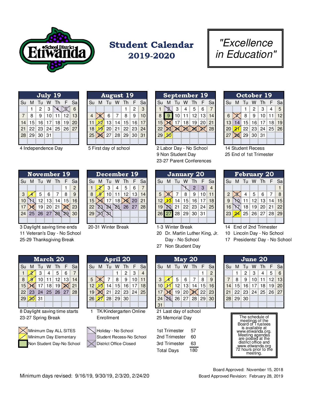 Student Calendar – Etiwanda Intermediate Intended For Ontario Montclair School District Calendar