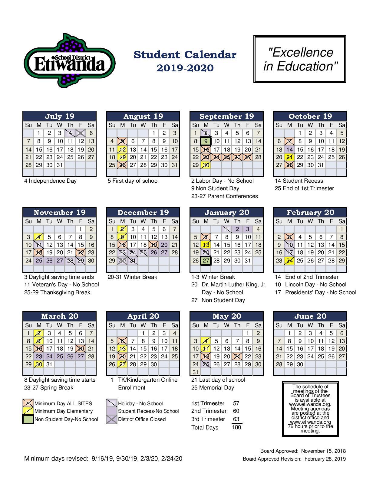 Student Calendar – Etiwanda Intermediate Pertaining To Victorville School District Calendar