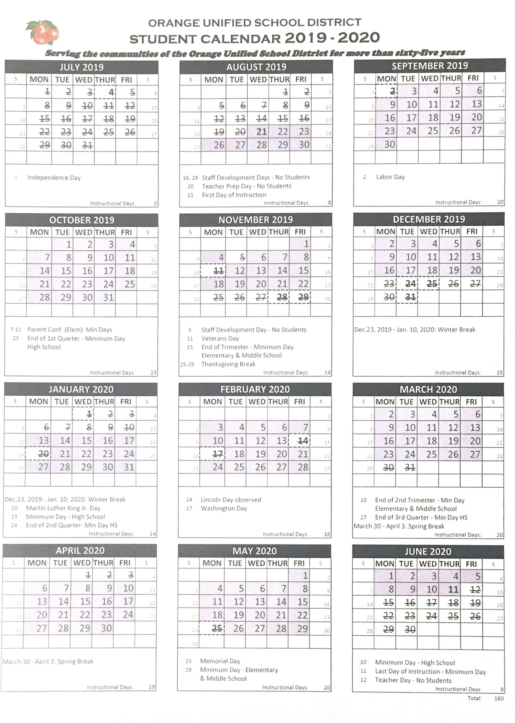 Student Calendar – Orange Unified School District For Temecula School District Calendar