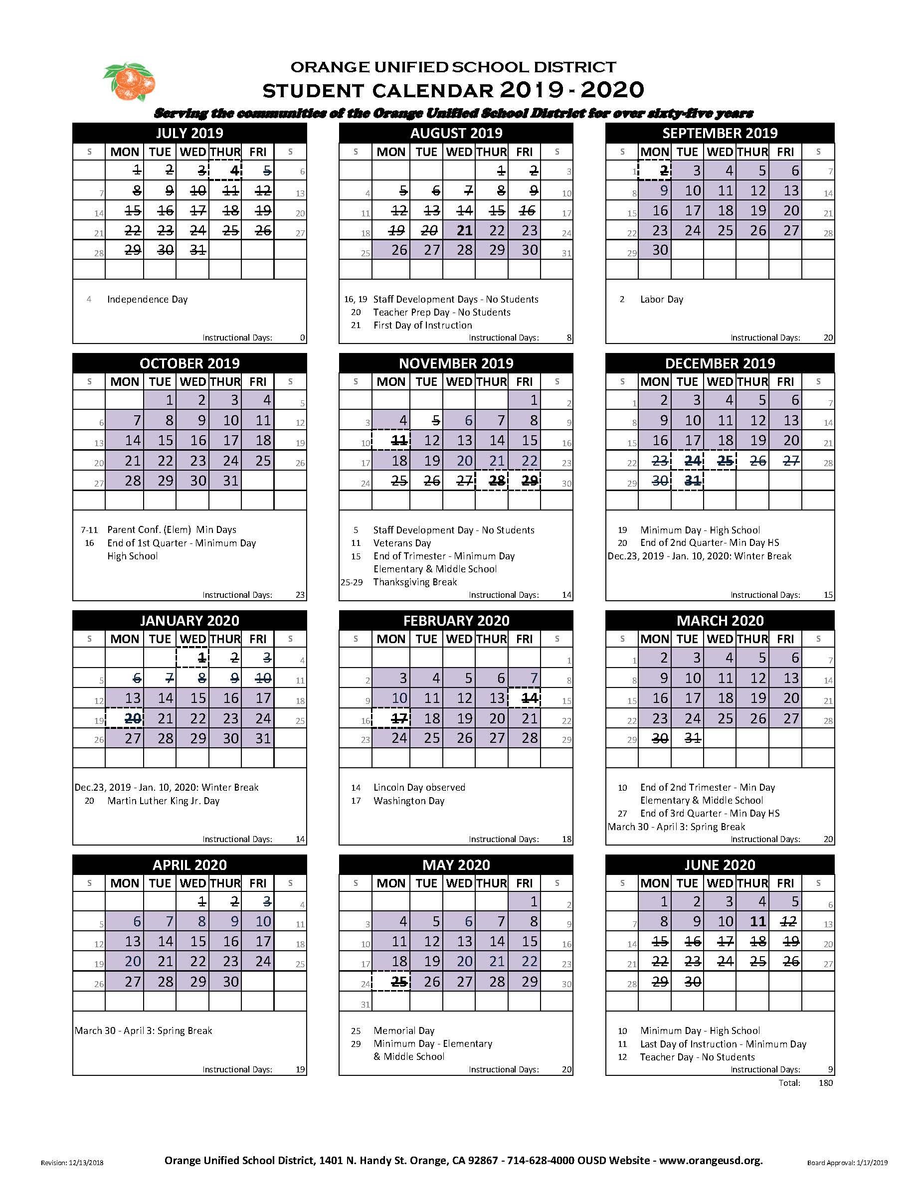 Student Calendar - Villa Park High School Inside Fontana School District 12 Month Employee Calendar