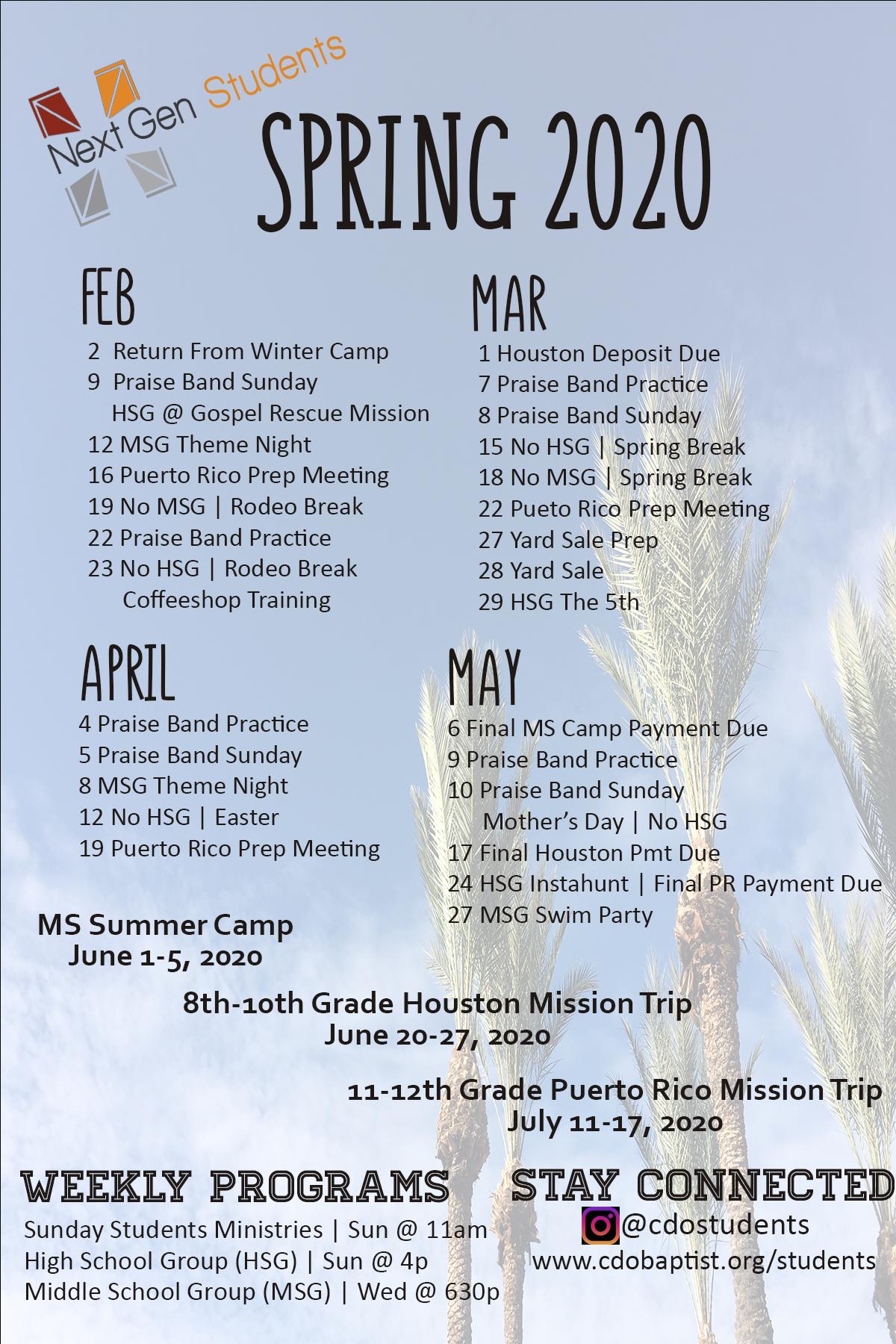 Students - Canyon Del Oro Baptist Church With Canyon Del Oro Calendar
