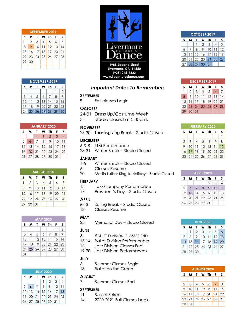 Studio Calendar — Livermore School Of Dance Throughout Livermore School Calendar