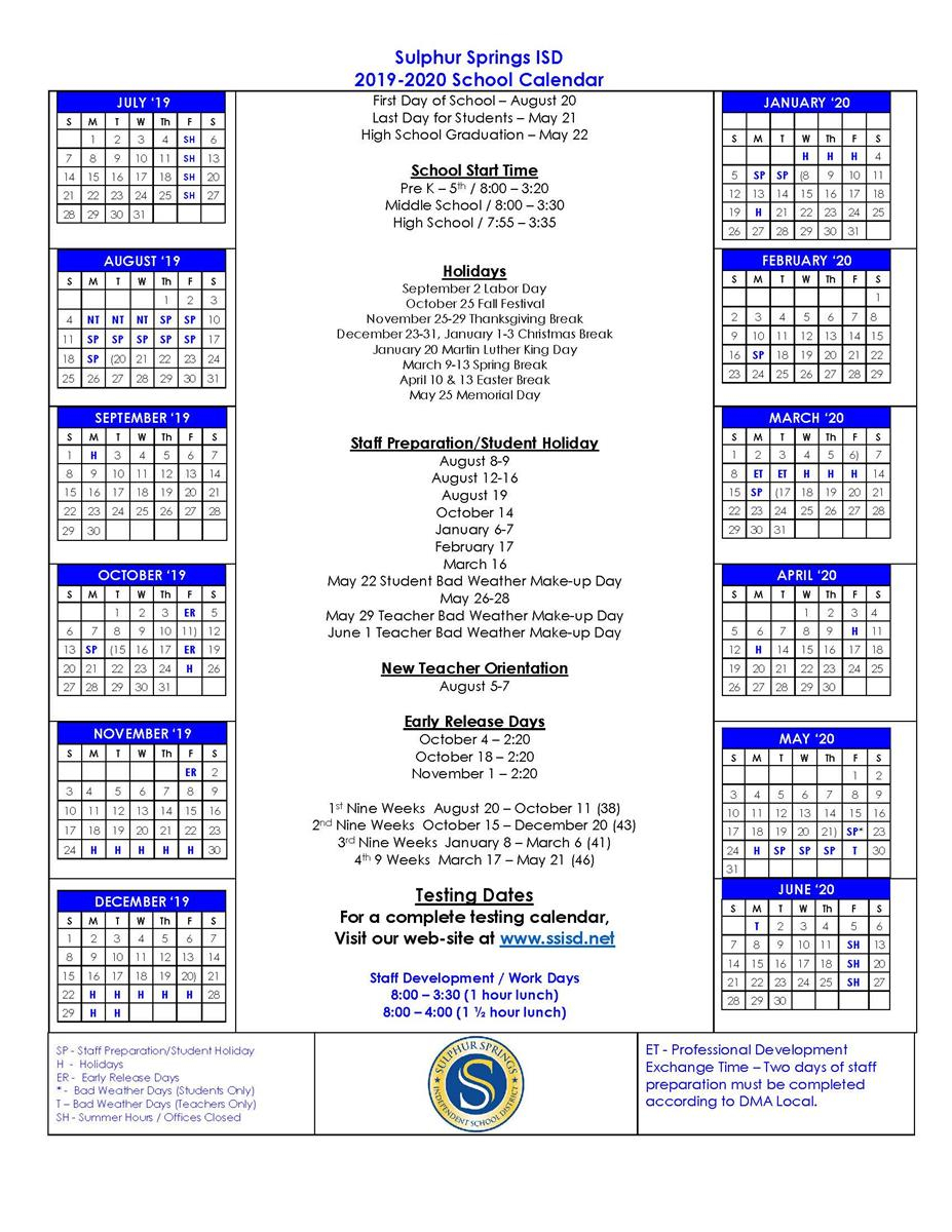 Sulphur Springs Independent School District For Sulphur Springs Tx School District Calendar