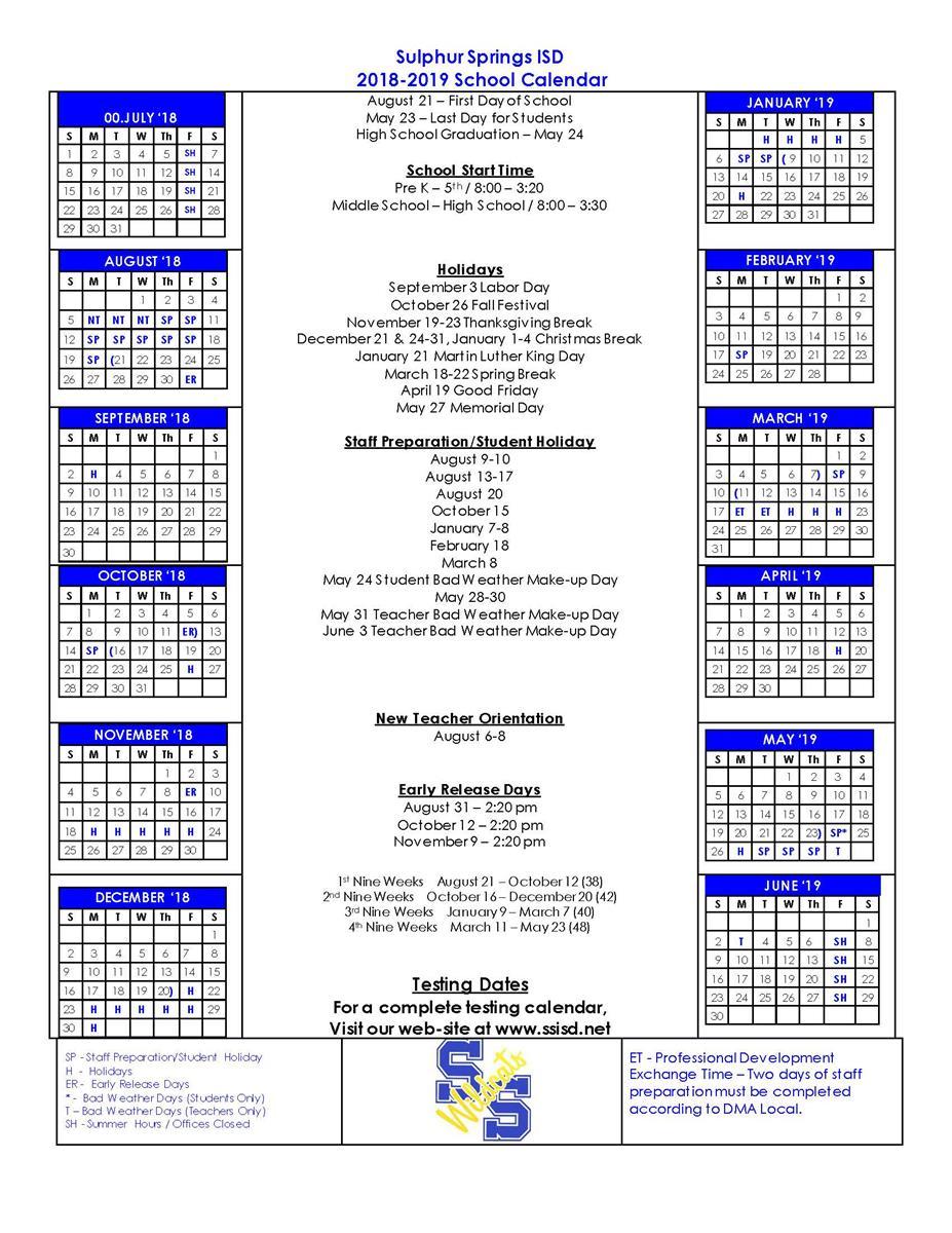Sulphur Springs Independent School District – Induced Inside Sulphur Springs Tx School District Calendar
