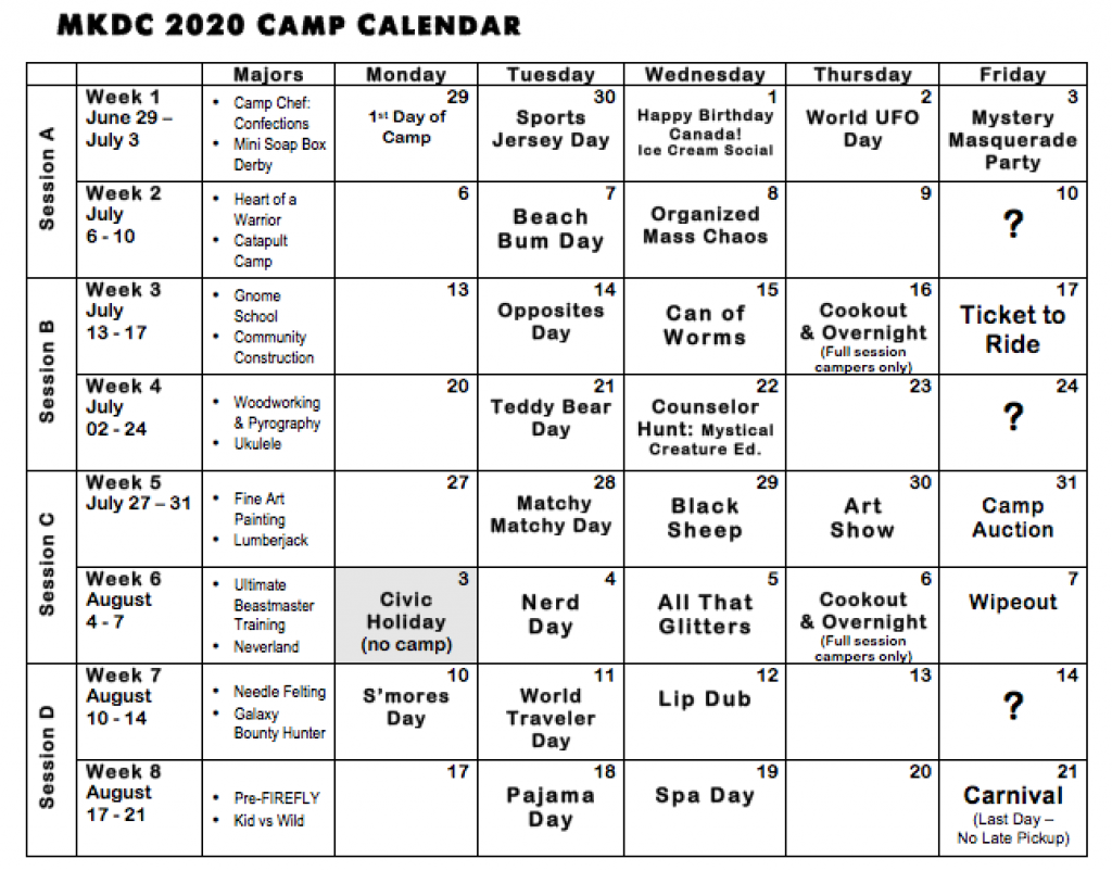 Summer 2020 Calendar - Maple Key Day Camp With Regard To Last Day Of Summer Calendar