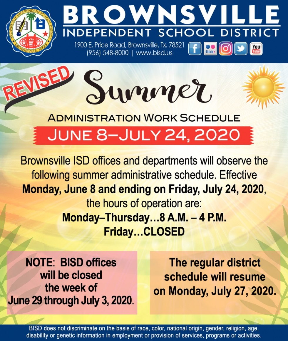 Summer Administration Work Schedule, Brownsville Independent Within Brownsville Independent School District Calendar