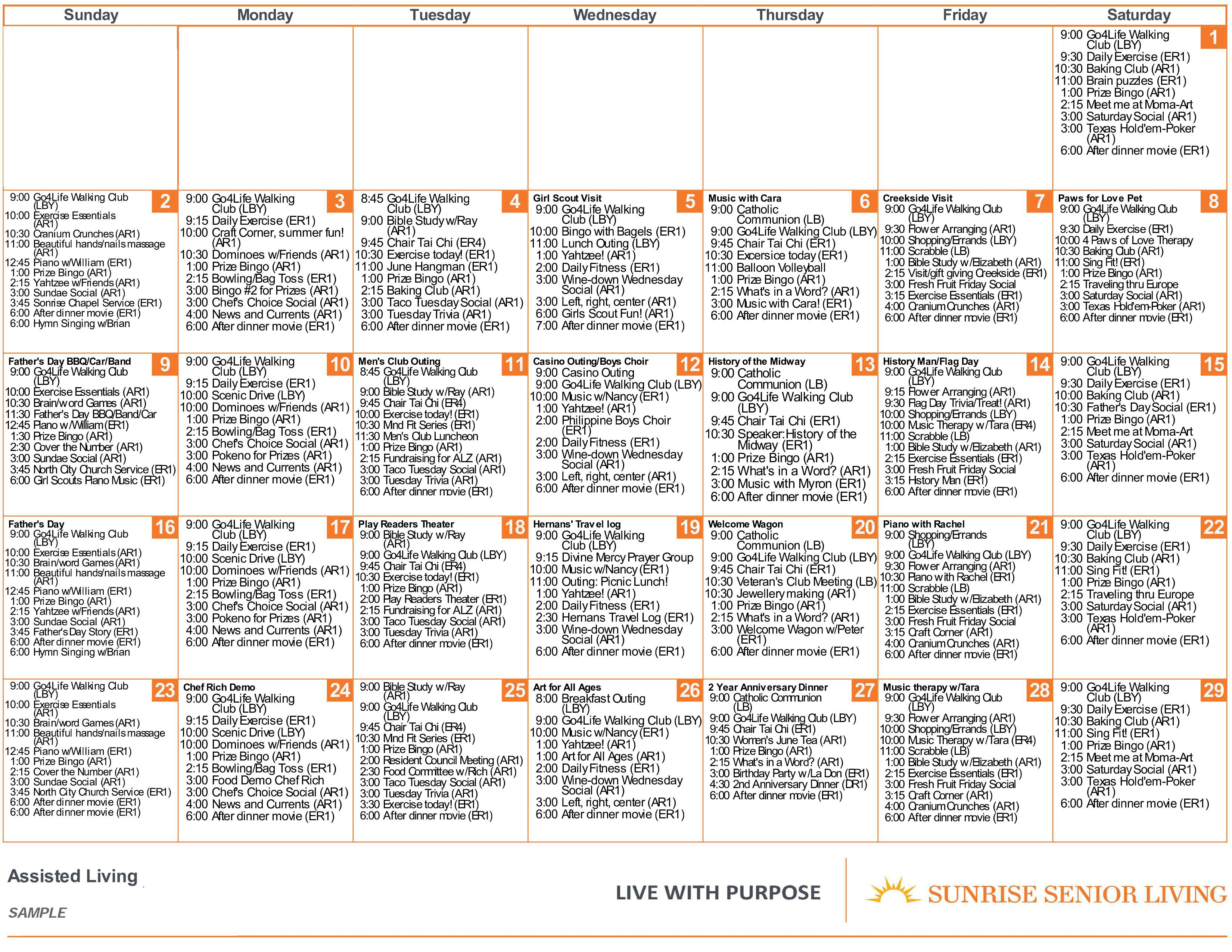 Sunrise Programs & Activities | Sunrise Senior Living Inside Assisted Living Facility Activity Calendar