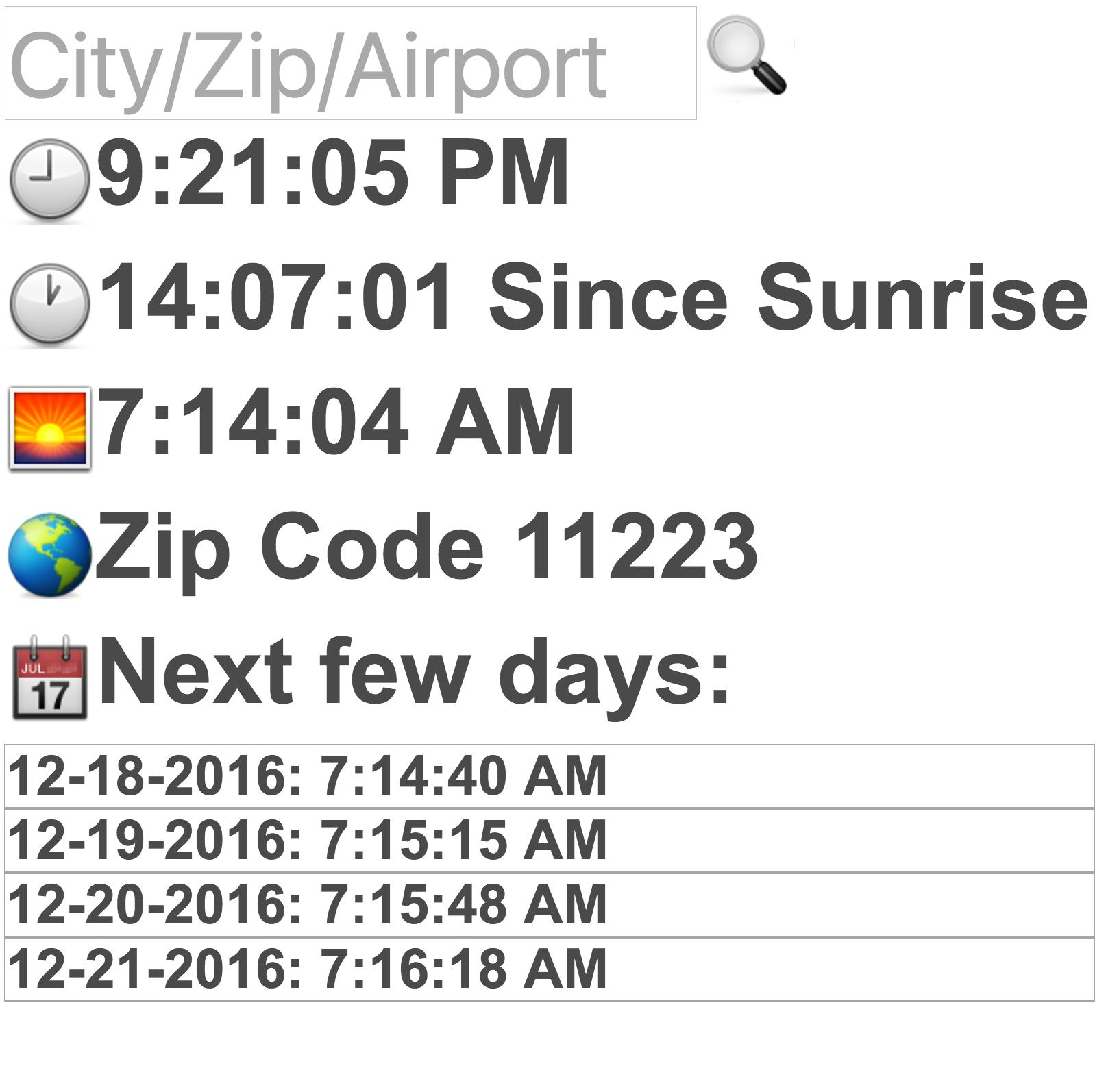 Sunrise Time For Android – Apk Download For Sunrise Time By Zip Code