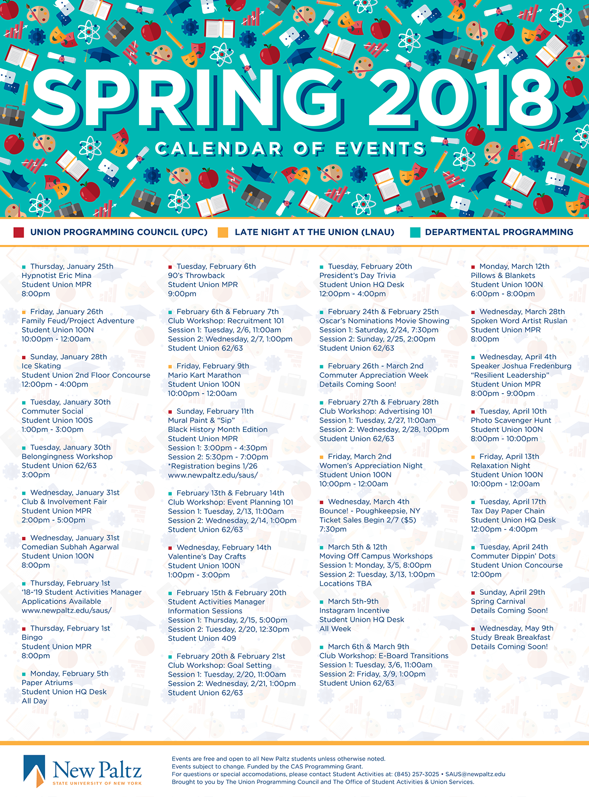 Suny New Paltz Spring 2018 Calendar Of Events On Behance Within Suny New Paltz Calendar