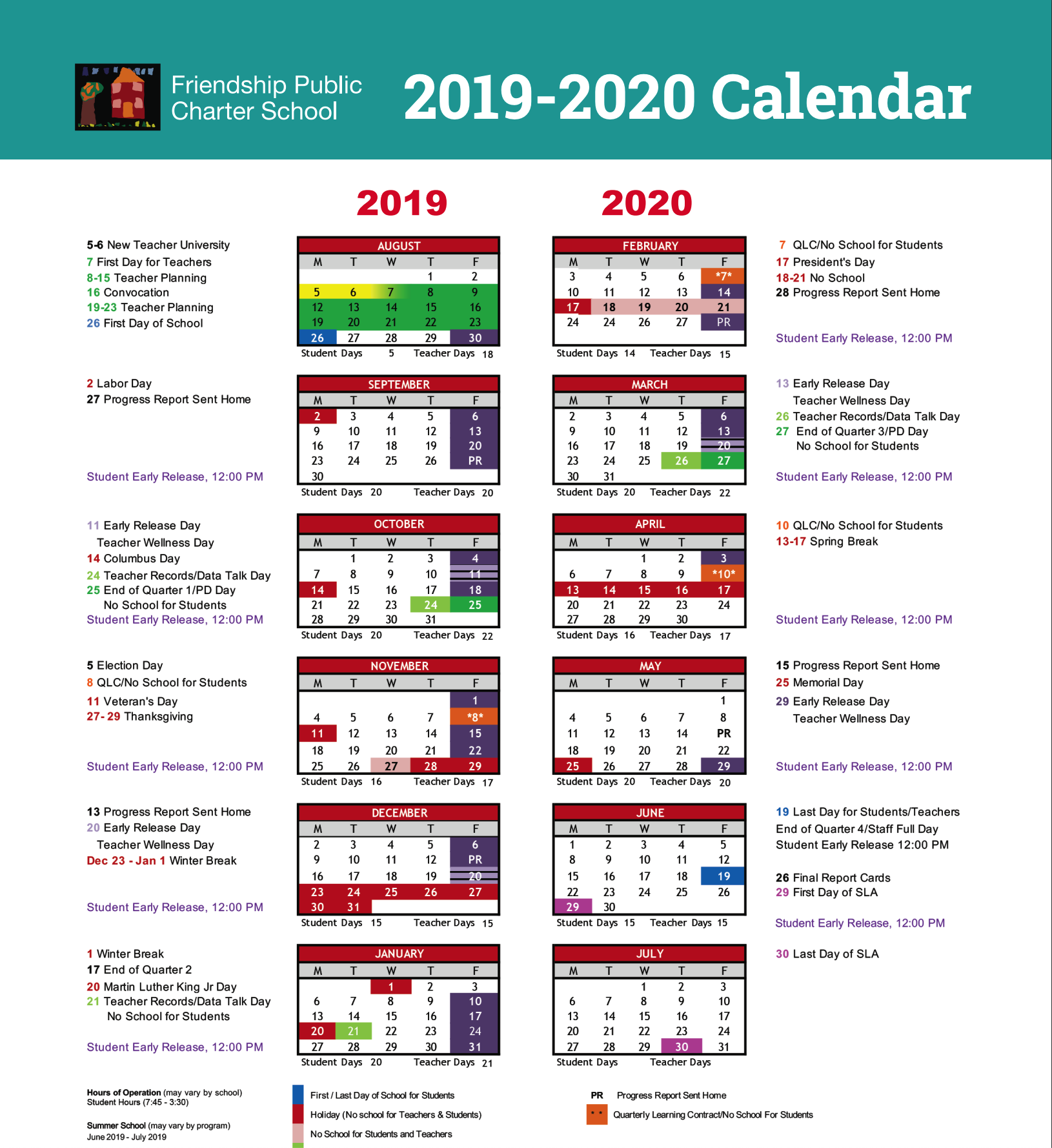 Sy 2019 20 Calendar - Friendship Public Charter School Inside Chamberlain Academic Calendar 2020