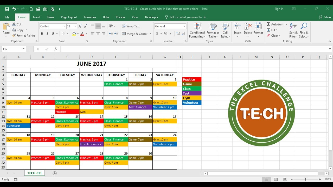 Tech 011 - Create A Calendar In Excel That Automatically Updates Colors Event Category In Convert Excel Data To Calendar Format