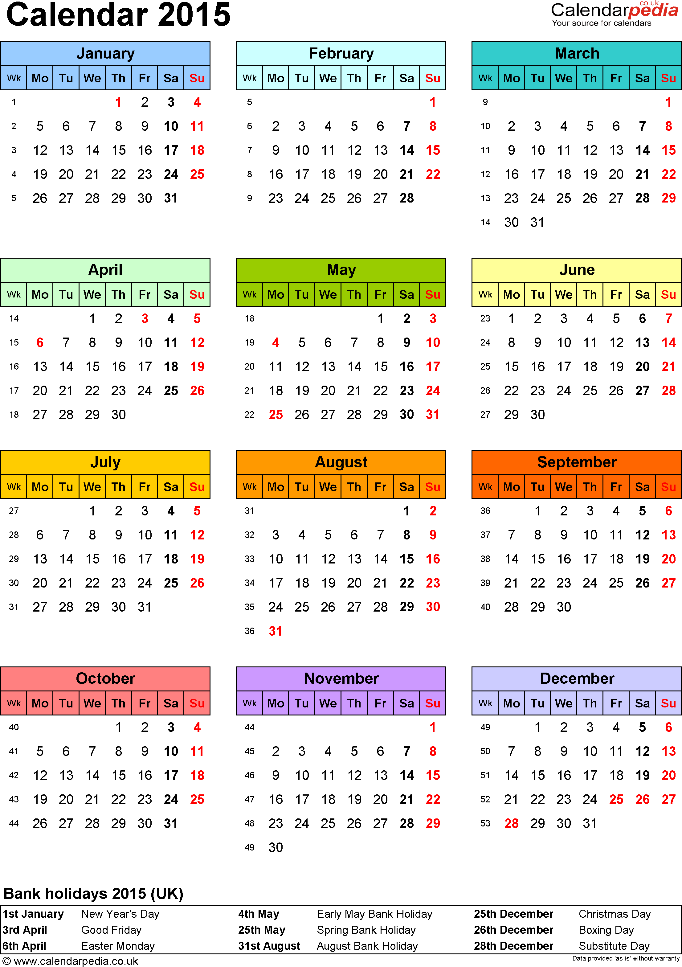 Template 9: Yearly Calendar 2015 As Pdf Template, Portrait Pertaining To Downey 2020 2021 Calendar Of Events Printable