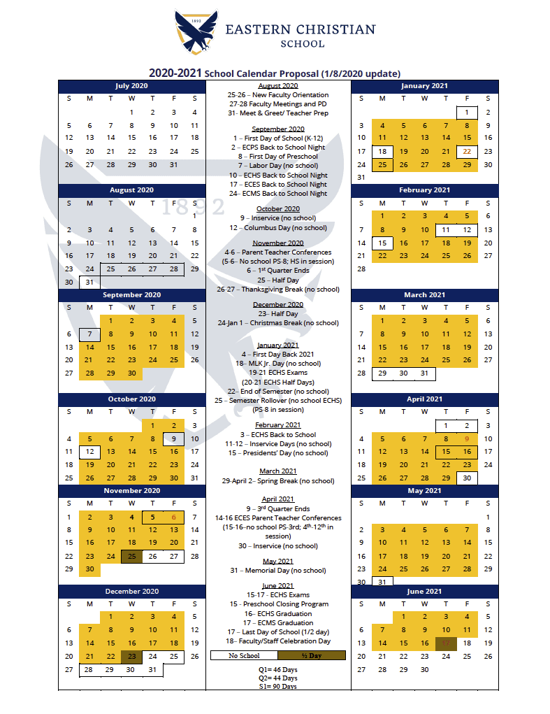 The 2020 2021 School Calendar Is Here! - Eastern Christian For Rye Country Day School Calendar 2021