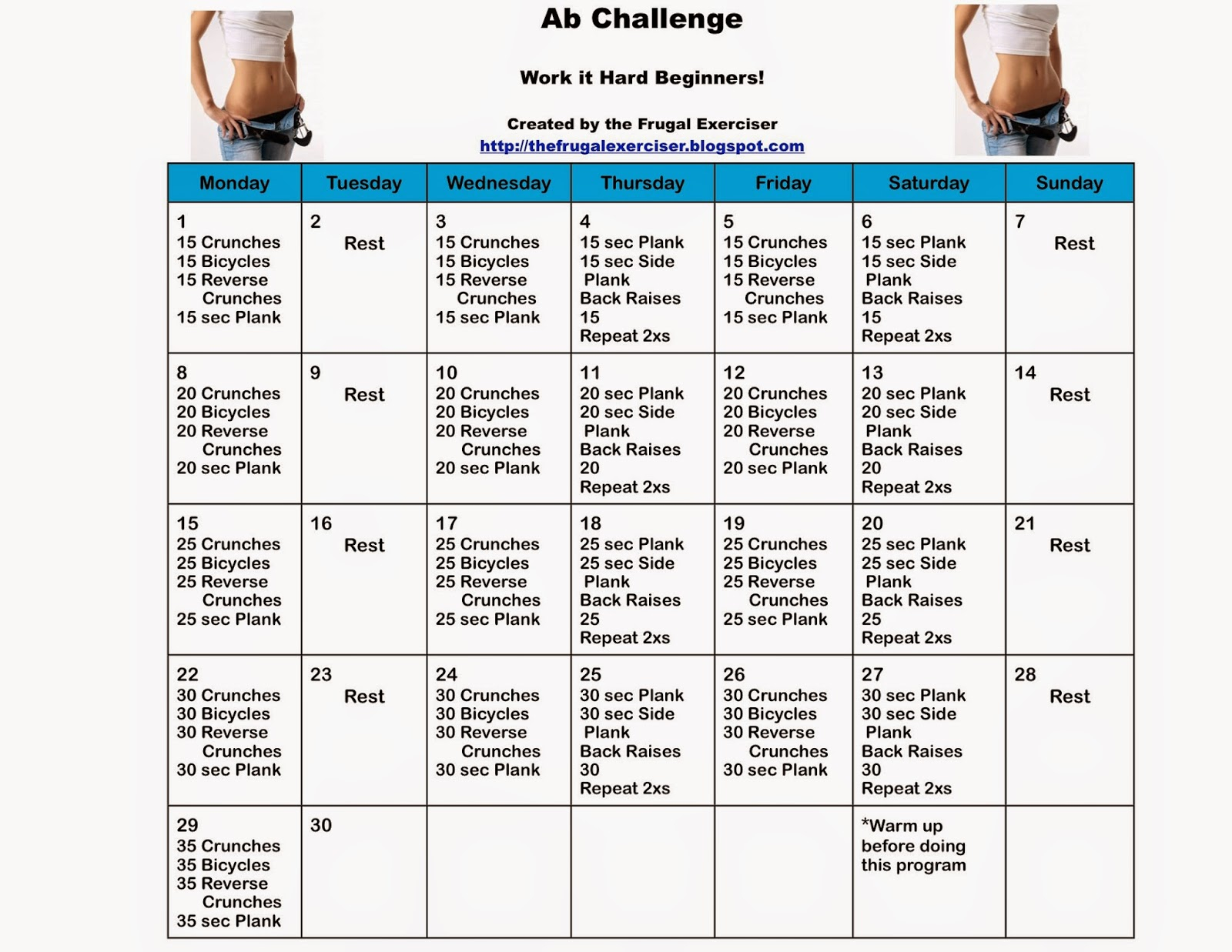 The 30 Day Ab Challenge For Beginners Intended For 30 Day Ab Challenge Printable
