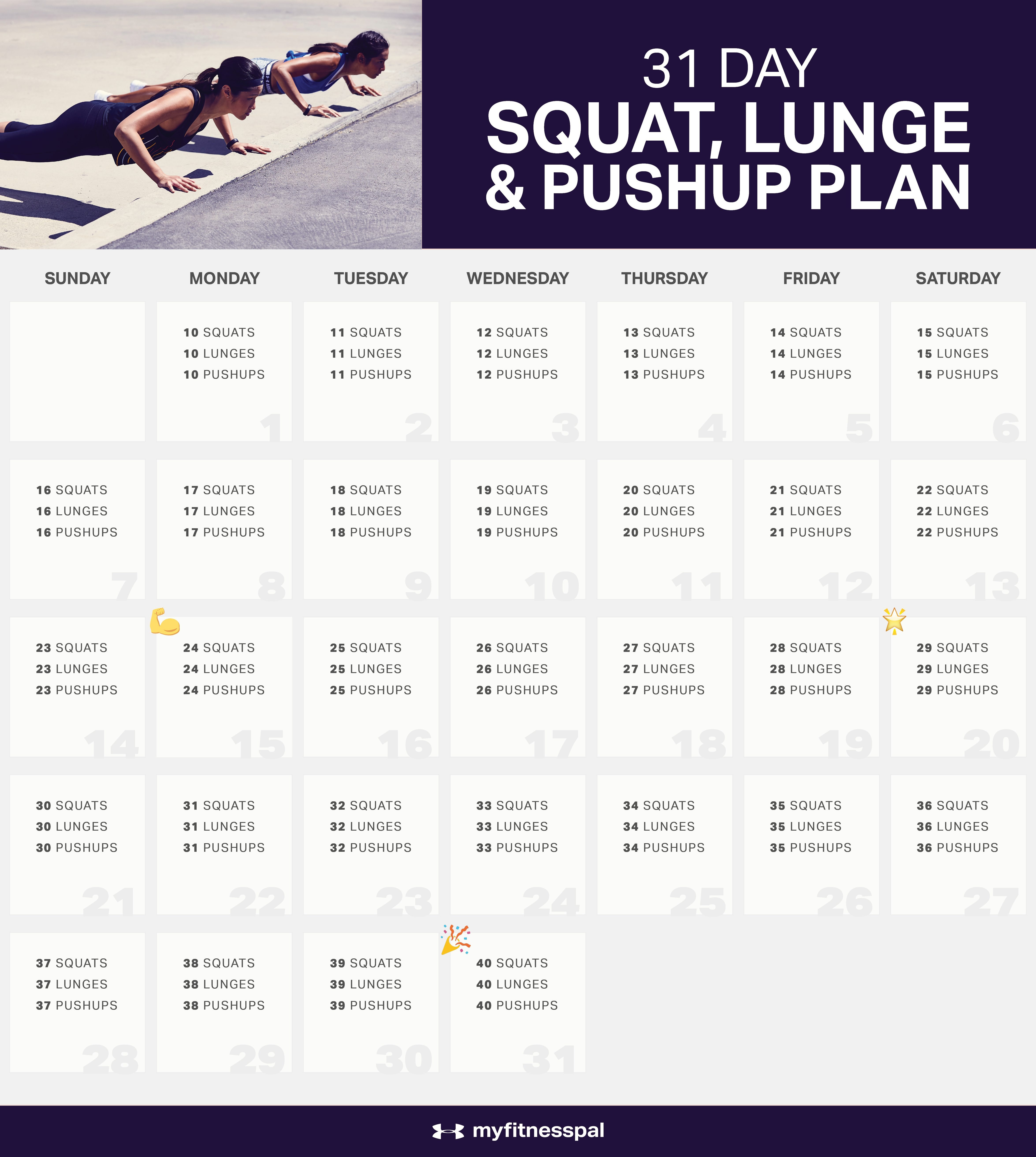 The 31 Day Squat Challenge, Lunge & Pushup Plan For 30 Day Push Up Challenge Printable Pdf