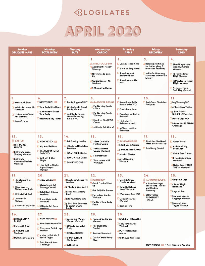 The Blogilates April 2020 Workout Calendar! – Blogilates in April Fitness Challenge Calendar