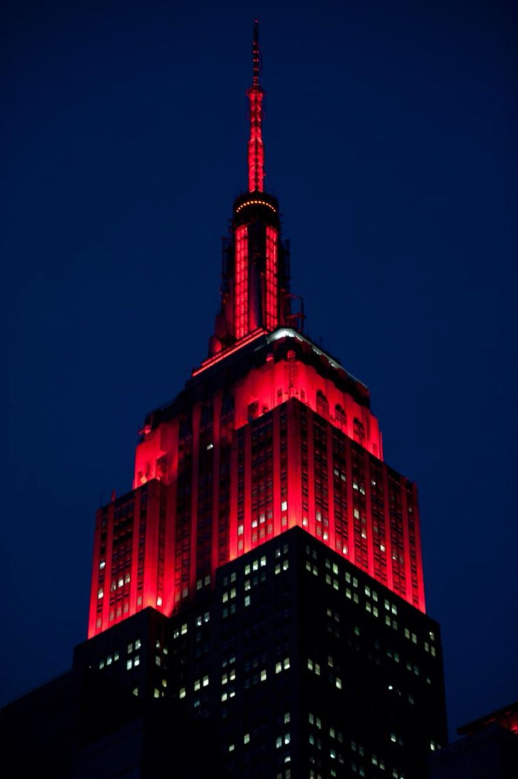 The Empire State Building Lights Shine Red Tonight To Honor Inside Empire State Building Lights Tonight