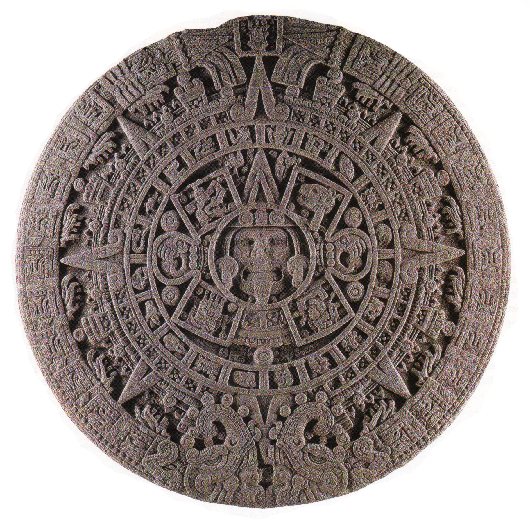 The Face Of The Calendar Stone: A New Interpretation – Maya With Corona Del Sol Calendar