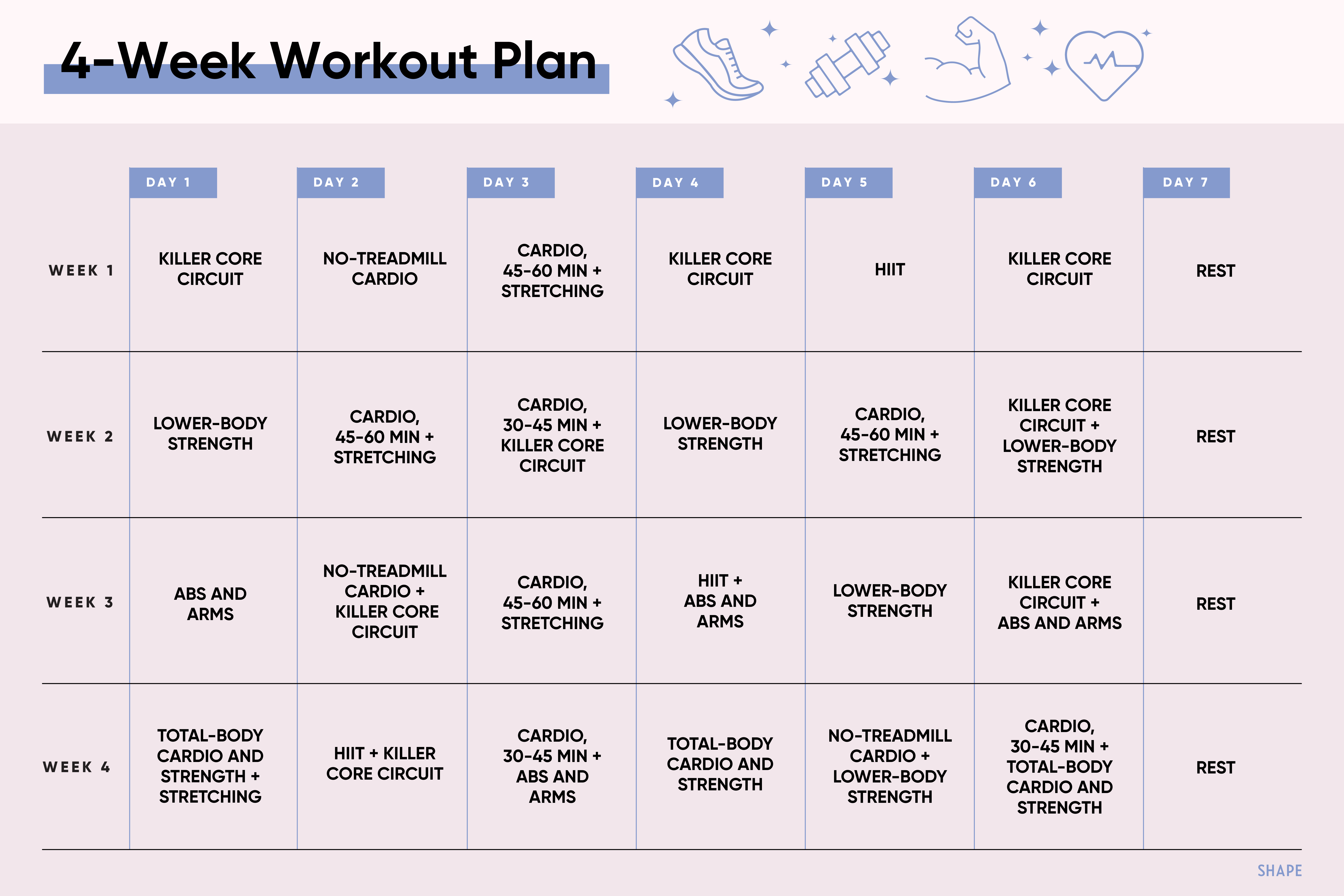 The Monthly Workout Plan For Overhauling Your Fitness Pertaining To 24 Day Jumpstart Pdf Workout