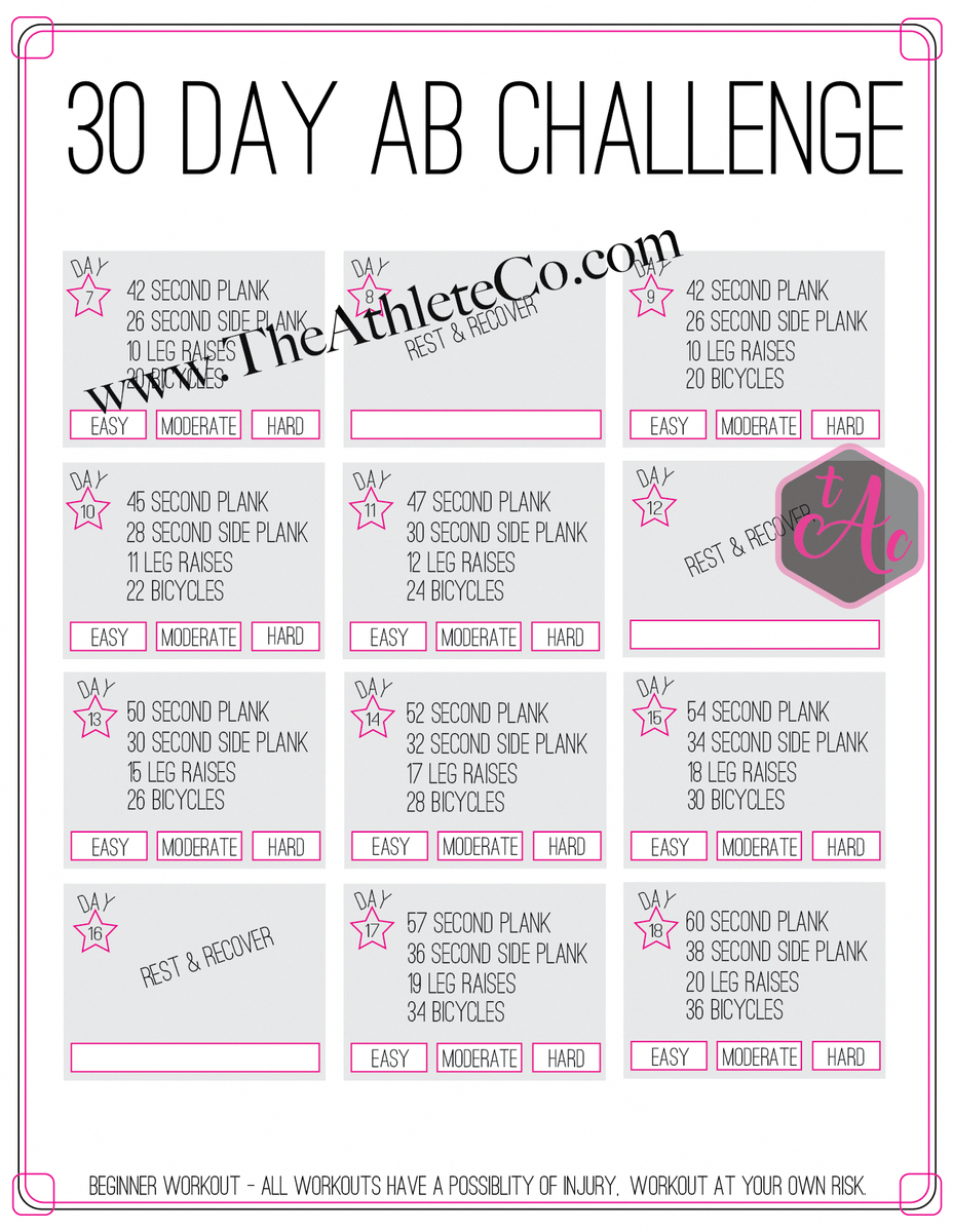 This 30 Day Ab Workout Challenge Starts Slow And Progresses Pertaining To 30 Day Ab Challenge Printable