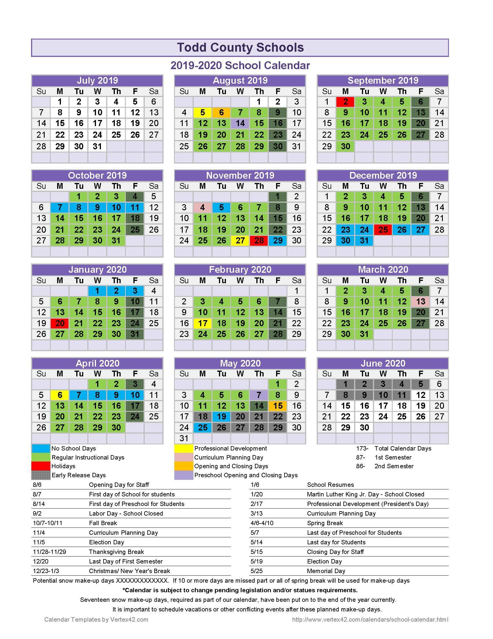 Todd County Central High School Pertaining To Davidson County Tn School Calender
