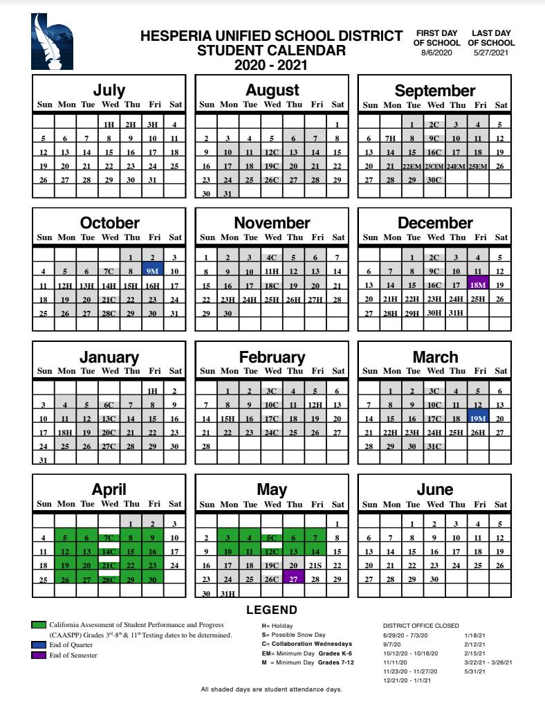 Topaz Preparatory Academy In Fontana School District 12 Month Employee Calendar