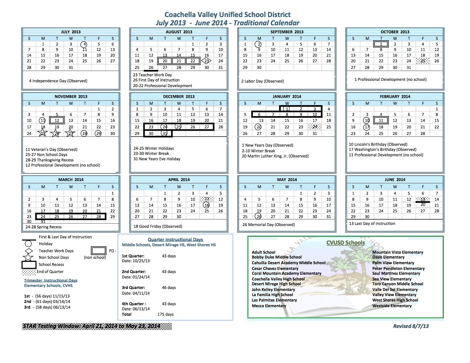 Traditional Calendar - Coachella Valley Unified School District Intended For Martinez Unified School Calendar
