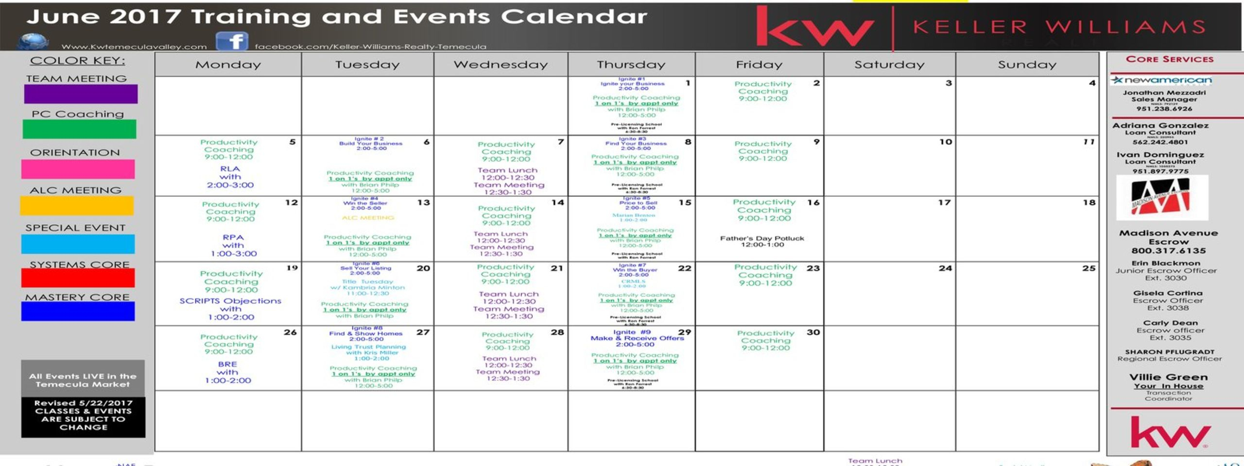 Training Calendar – Keller Williams Temecula Valley Inside Temecula School District Calendar