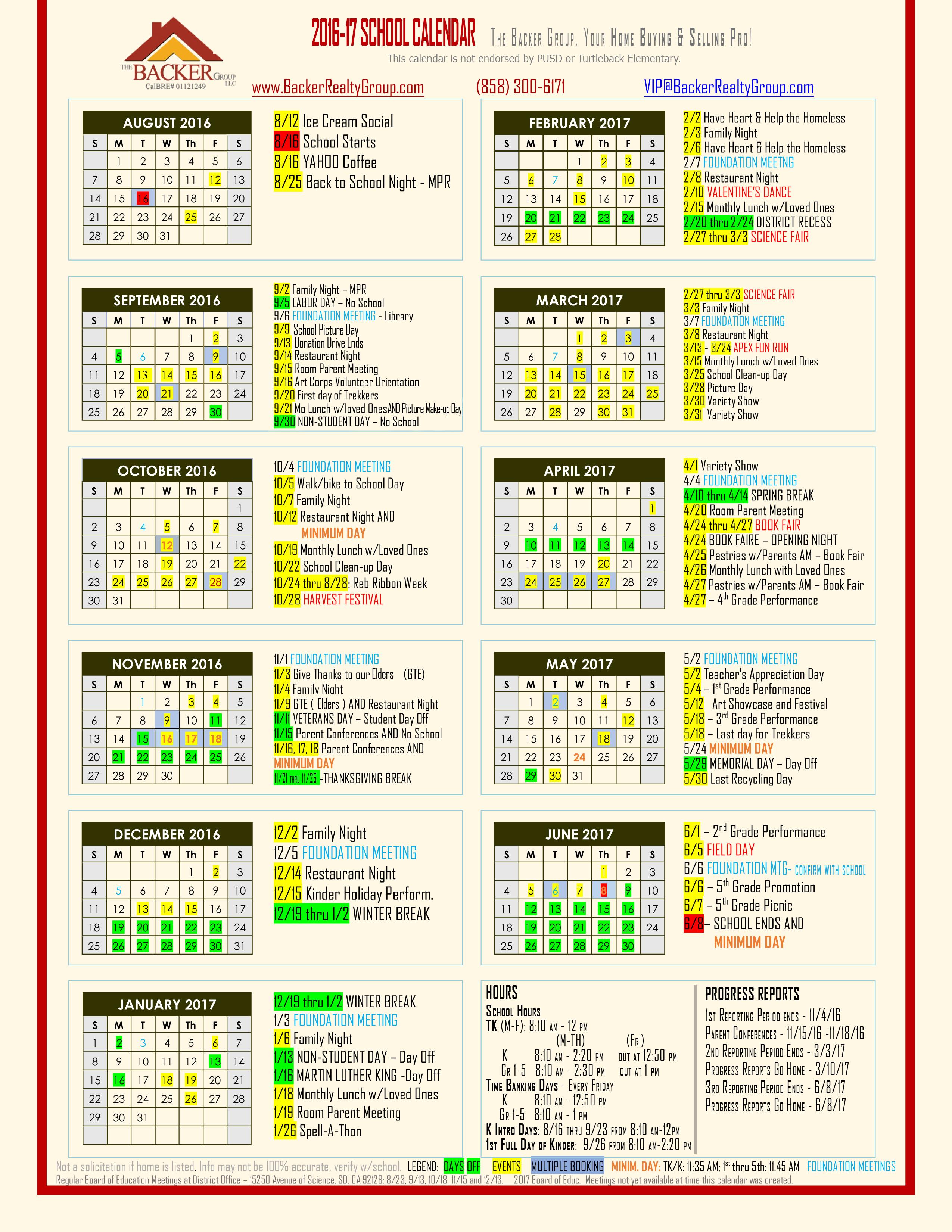 Turtleback Elementary, Poway Unified School District, Pusd Regarding San Diego Unified School District Calendar