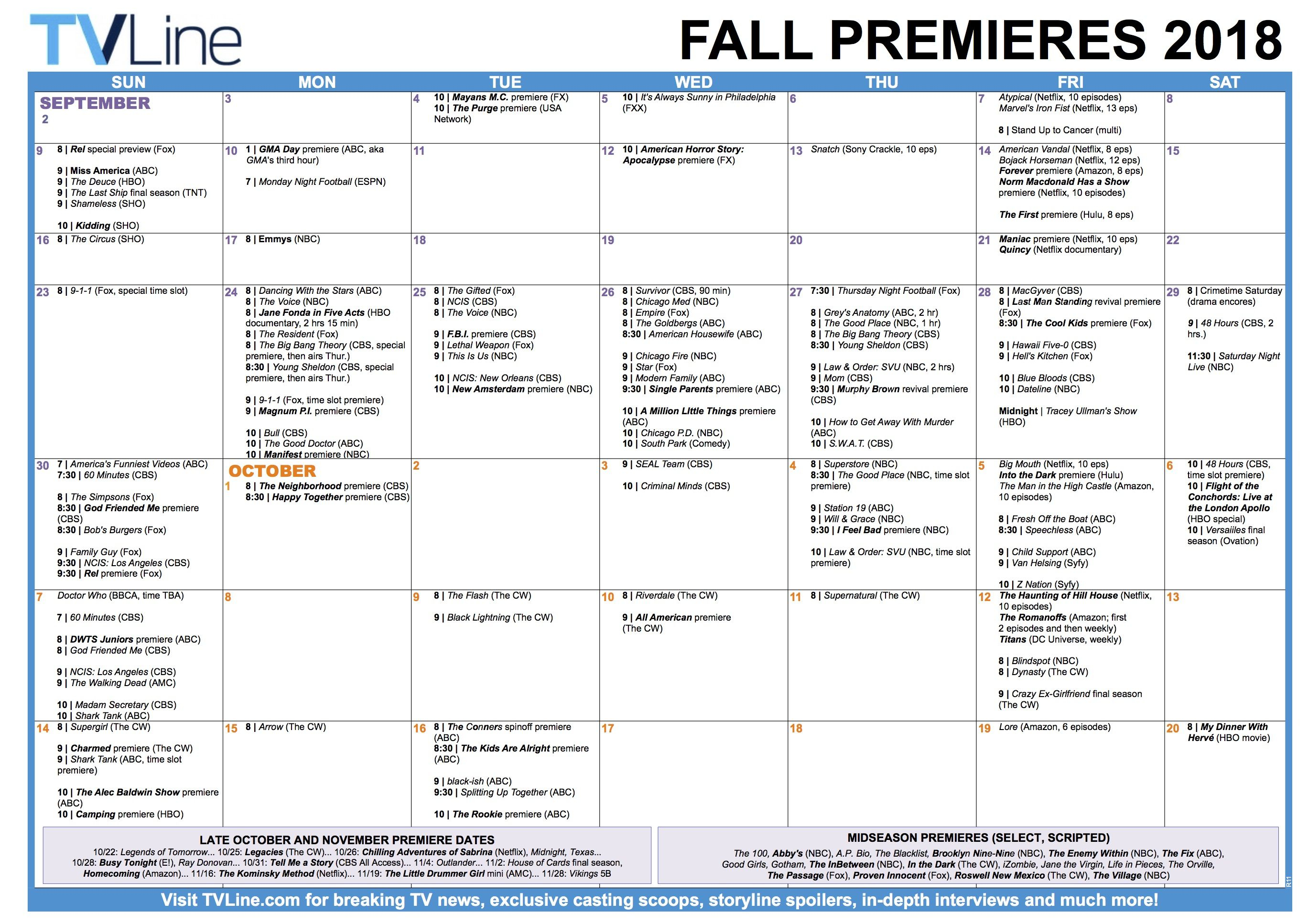 Tv Schedule Fall Premieres 2018 R11 2,737×1,934 Pixels With Fall Tv Line Up 2021 2020 Printable