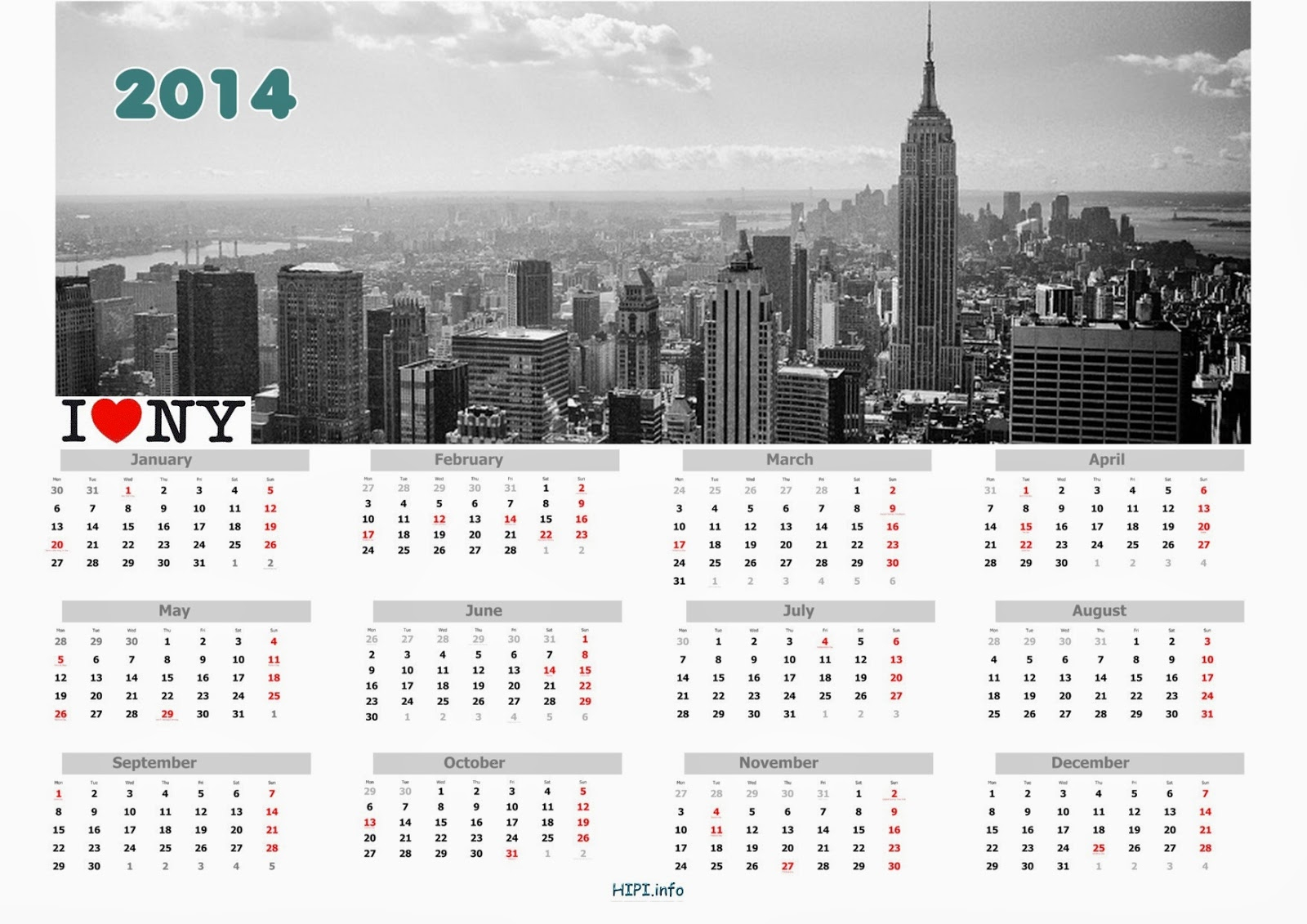Twitter Headers / Facebook Covers / Wallpapers / Calendars With Calendar Empire State Building