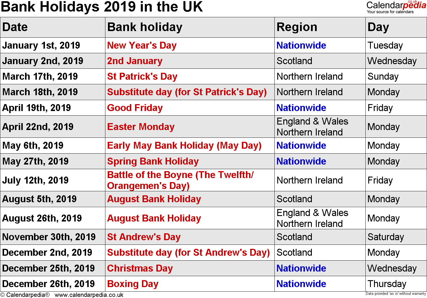 Uk Holidays 2019 | Holiday Calendar, Federal Holiday Within Uri Academic Calendar Holiday