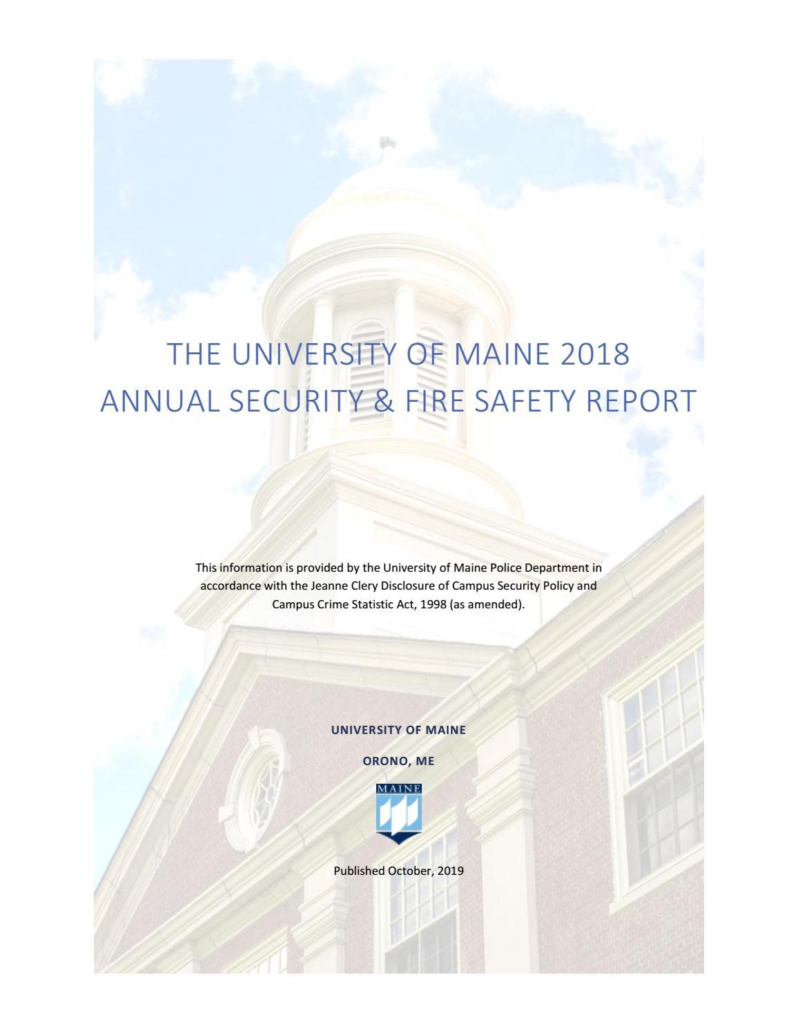 Umaine Clery Report Calendar Year 2018University Of Throughout University Of Maine Orono Academic Calendar