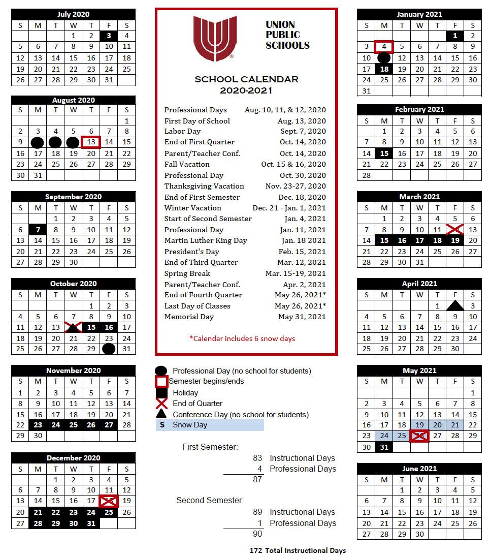 Union Public Schools – District News 19 20 Regarding University Of Tulsa 2021 Calendar