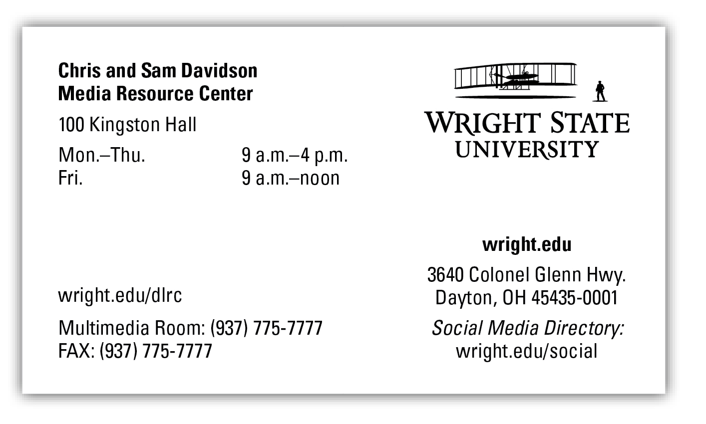 University Business Card | The Wright State University Brand In University Of Dayton Class Schedule Blank Template